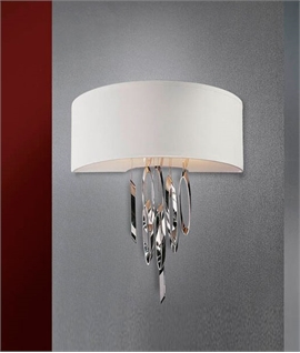 White Shade Wall Light with Chrome Spirals