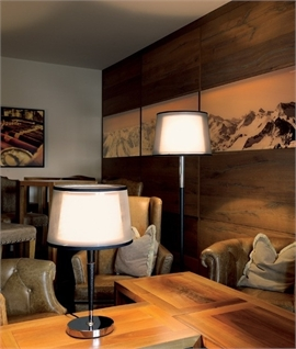 Double Smoked & Faux Leather Shaded Floor Lamp