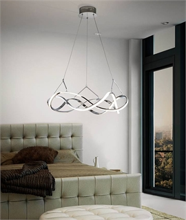Double Twisted Swirl LED Pendant Two Finishes