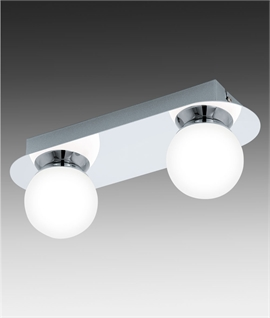 Double LED Polished Chrome Light with Sphere Shades