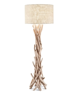 Hessian Shade & Driftwood Floor Lamp
