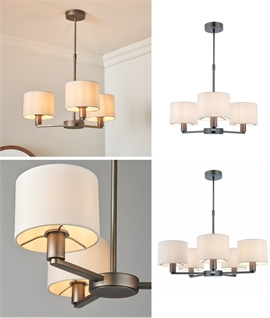 Bronze 3 or 5 Light Pendant with White Fabric Shades