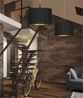 Modern Drum Shaded Pendant - Two Sizes & Colours