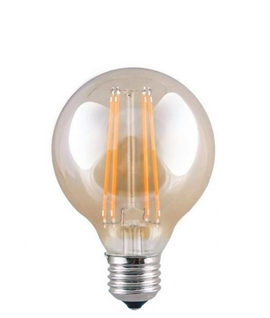 E27 95mm 2w LED Globe Lamp - Amber Glass