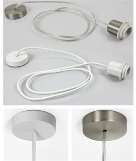 Complete E27 Pendant including ceiling canopy, flex and lampholder - White or Matt Nickel
