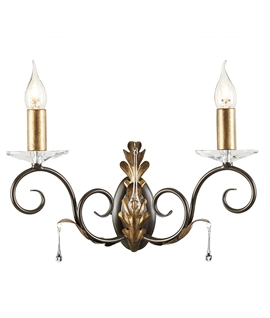 Elegant Rococo Style Wall Light - Crystal Adorned
