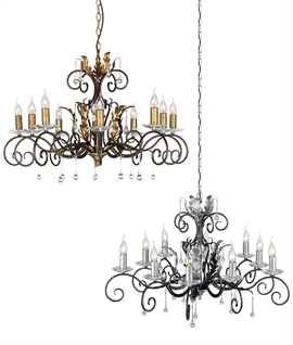 10 Light Elegant Rococo Style Chandeliers - Crystal Adorned