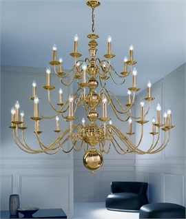 Elegant Polished Brass Flemish Inspired Chandelier