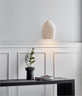 Elegant White Ceramic Ribbed Shade Pendant