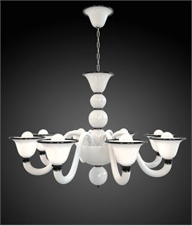 Elegant White Venetian Glass Chandelier