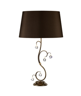 Bronze Patina Table Lamp with Crystal Balls & Silk Shade