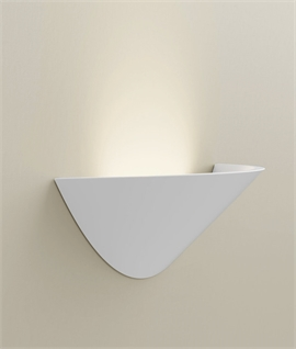 Wide Crescent Plaster LED Wall Light