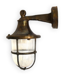 Marine Brass and Prismatic Glass Wall Lantern - 3 Finishes