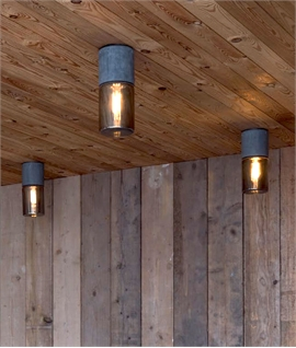 Ceiling Fixture in Natural Basalt Rock & Smoked Glass Shade