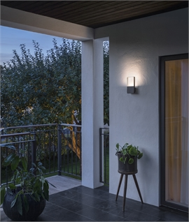 Exterior Black Low Profile Block Up Wall Light