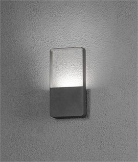 Exterior Wall Light in Dark Grey with Clear Block