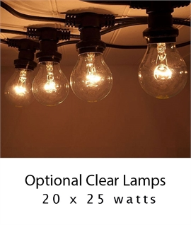 Weatherproof Plug-In Traditional Festoon String Lights - 20 Screw-in Bulbs