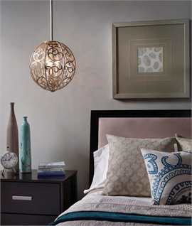 3 Light Fretwork Ball Pendant Light in Aged Silver Finish