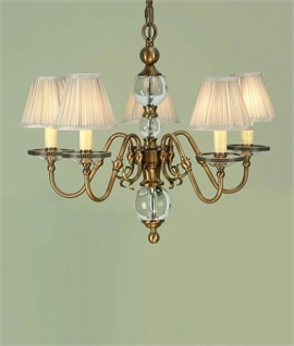 Flemish Chandelier - Brass with Glass Ball Detail