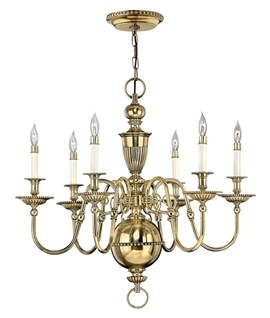 Flemish Inspired Brass Six Arm Chandelier