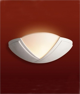 White Ceramic Wall Light with Glass - Uplit