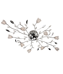 Flower & Leaf Semi Flush 10 Light