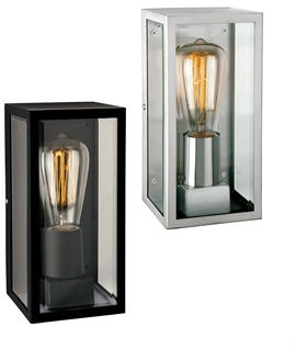 Simple Flush-Mounted Wall Lantern In Clear Glass - Chrome or Black