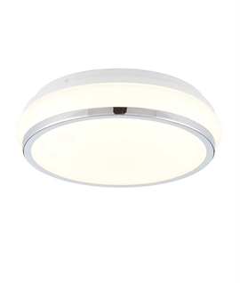 Flush and Polished Chrome Bathroom Ceiling Light
