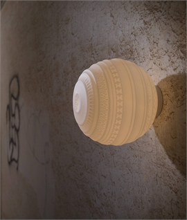 Flush Opal Glass Tribal Globe Ceiling or Wall Light