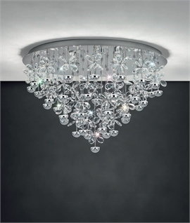 Polished Chrome LED & Crystal Blossom Flush Light