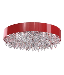 Flush Red Drum Ceiling Light With Crystals