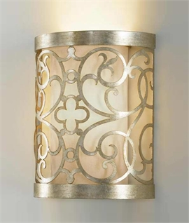 Silver Leaf Patina Fretwork Wall Light