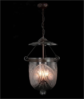 Georgian Hanging 3 Light Engraved Bell Jar Lantern