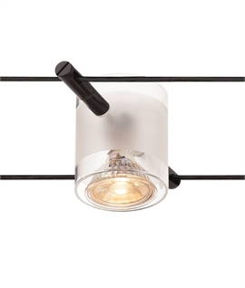 Cylindrical Tension Wire Head With Frosted Glass Shade