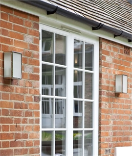 Contemporary Framed Outdoor Wall Lantern - Frosted Glass