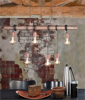 Rustic Steel Bar Pendant with Adjustable Lamp Flexes