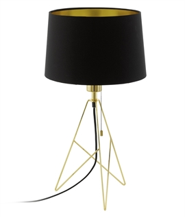 Geometric Triangular Base Table Lamp with Black Shade