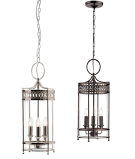 Chain-Suspended Georgian Glass Hallway Lantern in Nickel or Bronze