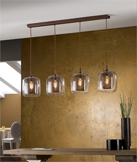 Chocolate Brown Glass & Mesh Bar Light