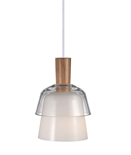Nordlux Calico Ceiling Pendant Light - White Glass & Wood