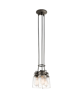 Clear Glass Shades Multiple Pendant - 2 Finishes