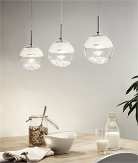 Triple Glass Globes with Crystal Pieces - LED Bar Pendant