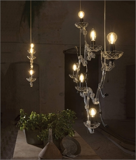 Glass & Crystal Skeletal Chandelier
