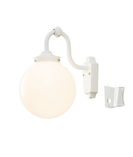 White Globe Wall Lantern - Corner Mount option