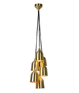 6 Light Metal Shade Cluster Pendant - Two Colours