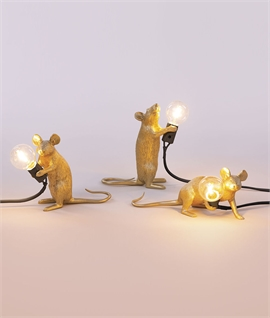 Mouse Lamp Gold with LED Lamp
