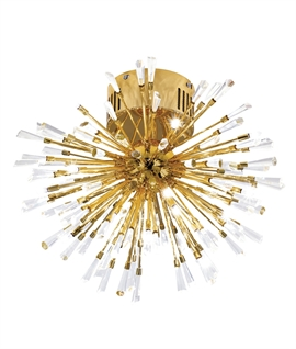 Crystal Explosion Flush LED Light - Gold or Chrome Finish