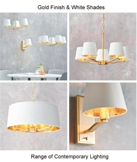 Brushed Satin Gold Large Shaded 3 Light Chandelier