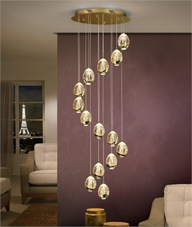 Long Drop Multi Light LED Pendant - Chrome or Gold
