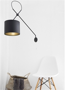 Long Reach Adjustable Wall Light with Shade - Two Finishes